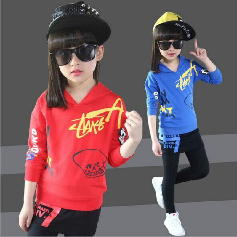 2017 Brand New Girls Clothing Set Kids Sports Suit Children Tracksuit Girls cotton Shirt +Pants Sweatshirt Casual Clothes Sets 2017 brand new boys clothing set kids sports suit children tracksuit long shirt pants cowboy sweatshirt casual clothes sets