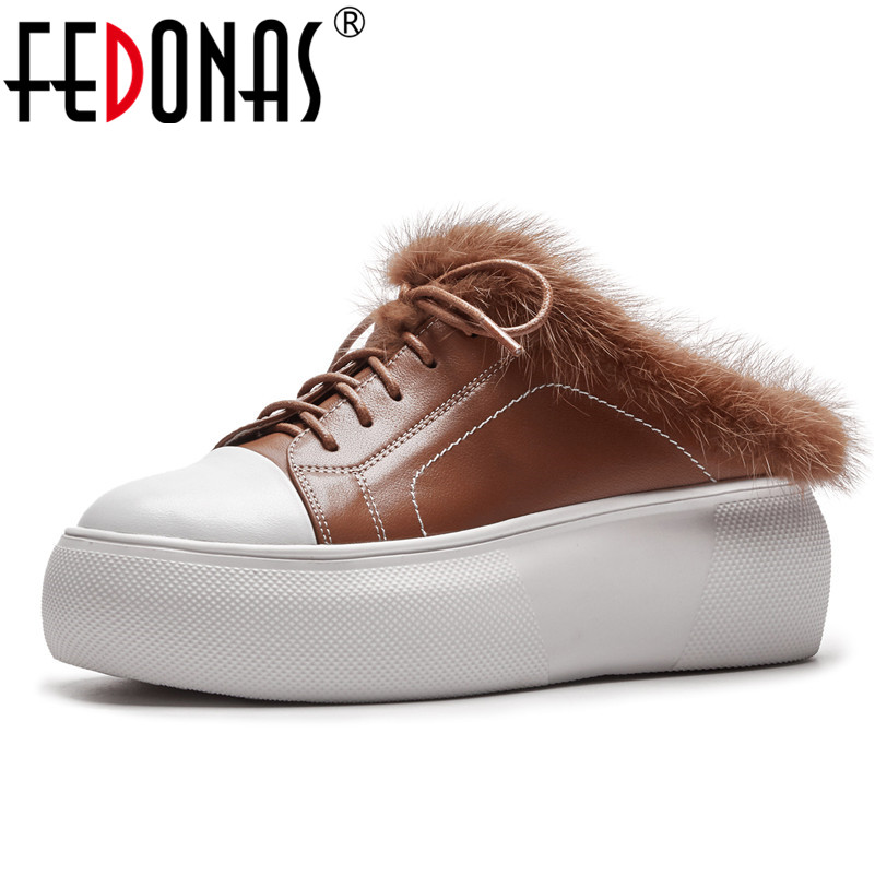 FEDONAS Fashion Women Flats Shoes Genuine Leather Round Toe Autumn Winter Fur Casual Shoes Woman Comfort New Loafter Shoes asumer white spring autumn women shoes round toe ladies genuine leather flats shoes casual sneakers single shoes