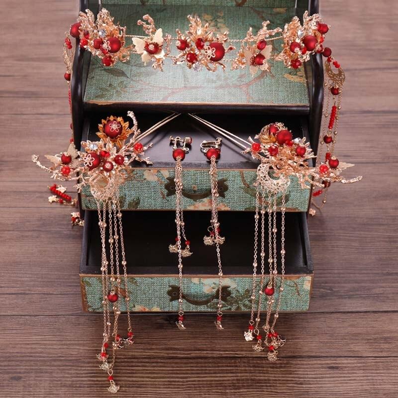 Schmuck & Zubehör Chinesische Rote Perle Kristall Lange Quaste Braut Tiara Haar Pins Stick Ohrringe Set Kopfschmuck Braut Schmuck Sets Hochzeit Zubehör