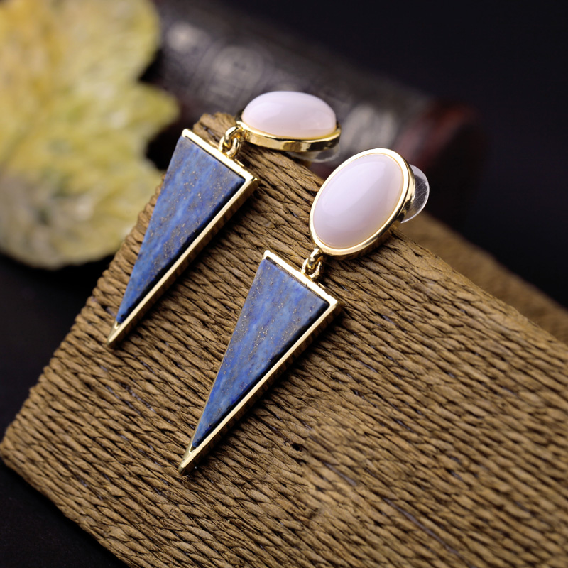 Brand Jewelry Black Royal Blue Stone Triangle Drop Earrings Special Store Antique OL Style Bricos