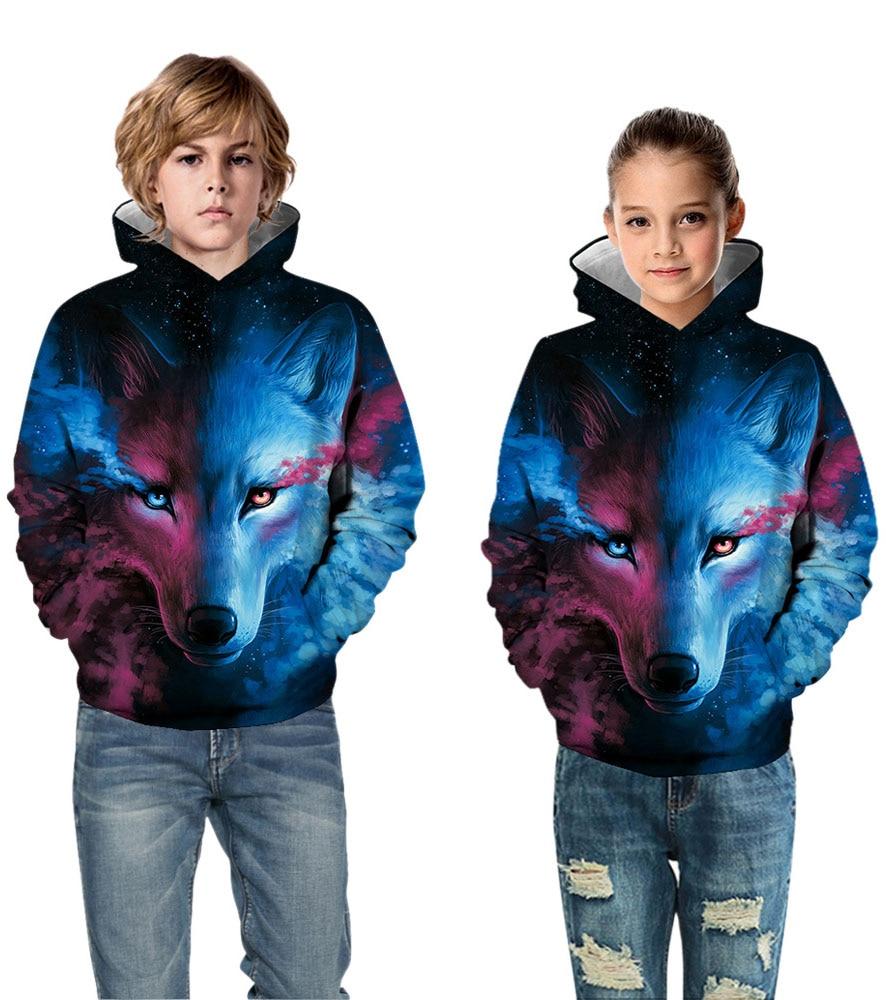 Men Sweats Zip Up Hoodies Wolf 3D Printed Casual Sweatshirts Cardigan Outwear