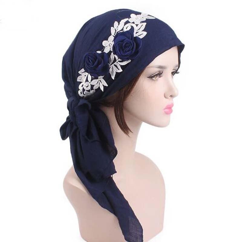 Rural Wind Flower Ribbon Skullies Beanies Spring Summer Brand Cotton Yarn Women Hats Turban Chemotherapy Cap