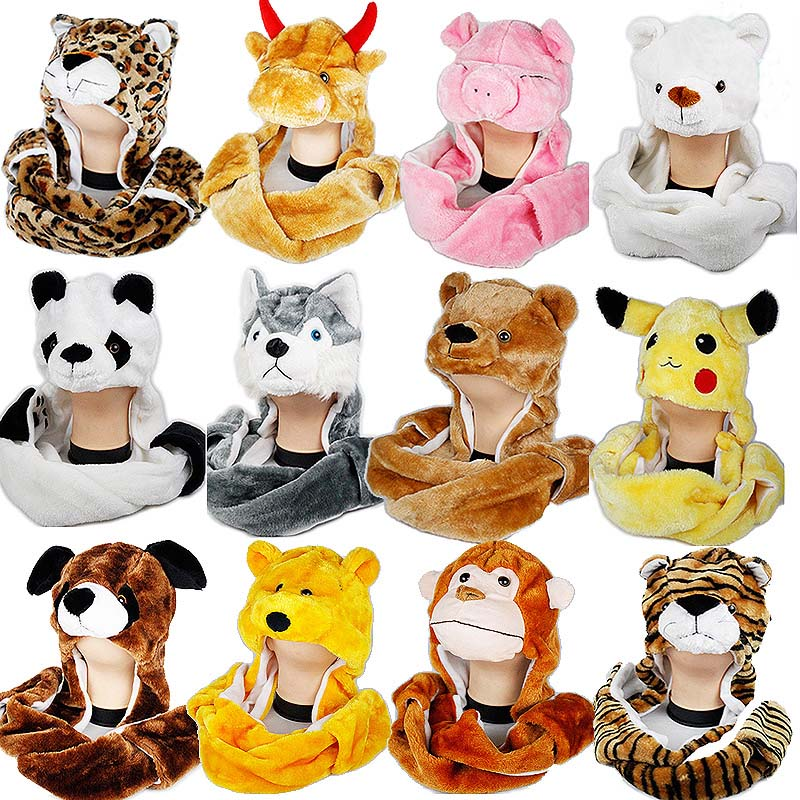 3 In 1 Cartoon Cute Winter Plush Animal Hat Cap Fashion Children Adult Earmuff Scarf Gloves For Christmas