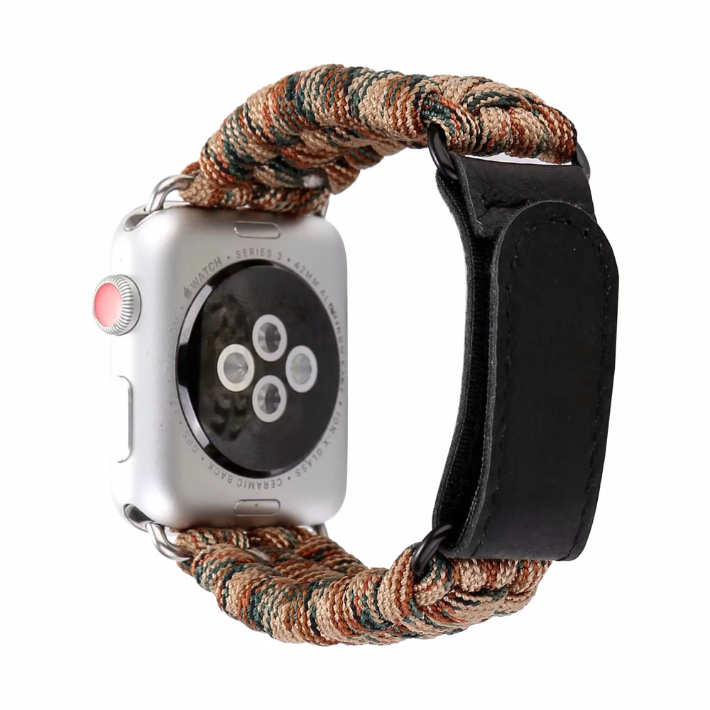 Weave Nylon Sports Watch Band for Apple Watch 38/40mm 42/44mm Series 1 2 3 4 Outdoors Survival Rope Loop iwatch Bracelet I325. survival nylon bracelet brown
