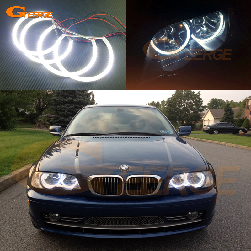 For BMW E46 Coupe Convertible 2000-2003 Halogen headlight Excellent Ultra bright illumination smd led angel eyes kit Halo Ring