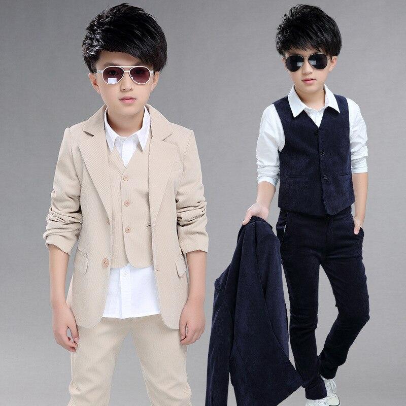 d039a414e Boys Blue Blazer for Wedding Suit Children Jacket+Vest+Pants 3 Pieces Kid Tuxedos  Set Autumn Winter Big Boys Party Blazers EB078