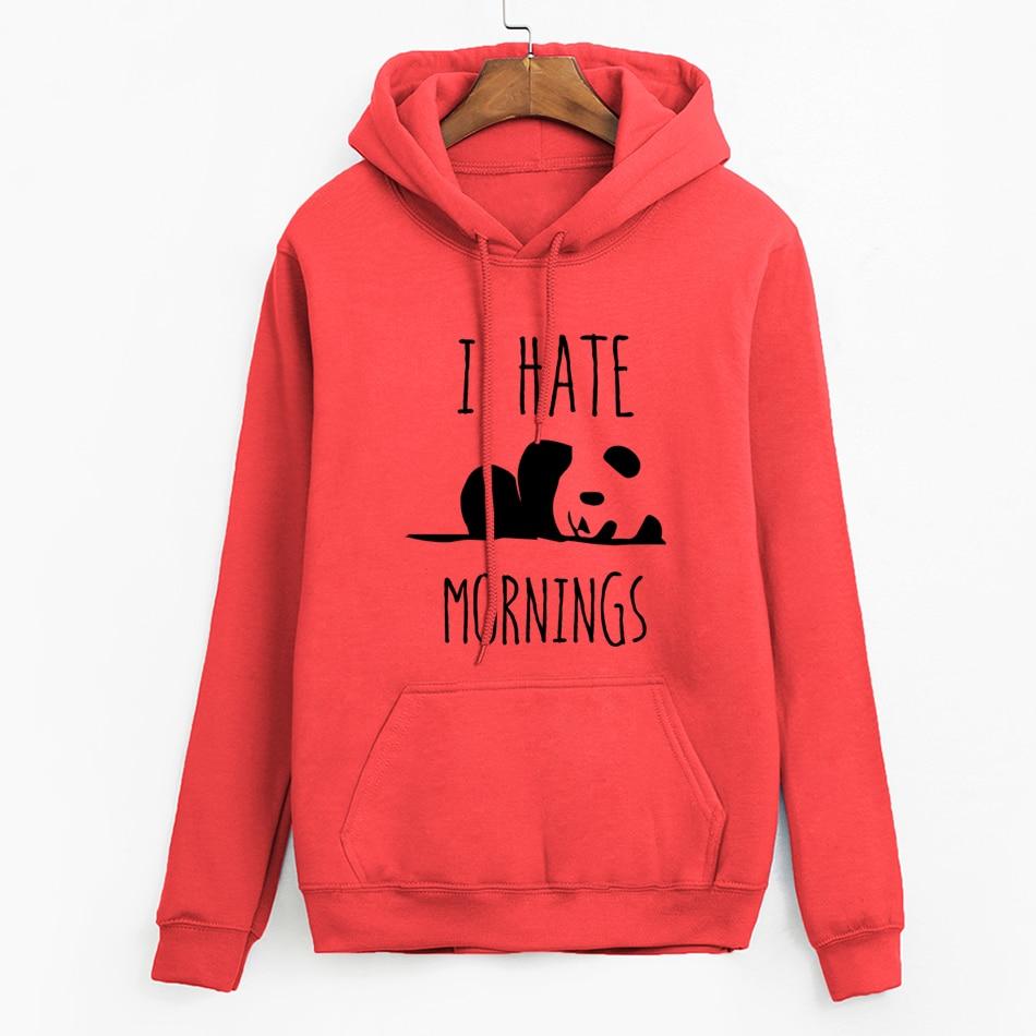 Brand Tracksuis Fashion Women Long Sleeve Hoodies 2019 Moleton Feminino Fleece Hoodies Panda I HATE MORNINGS Sweatshirt  Female