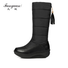 hot deal buy fanyuan new women winter warm snow boots fashion knee high boots low heel women boots casual boots women large size 35-44