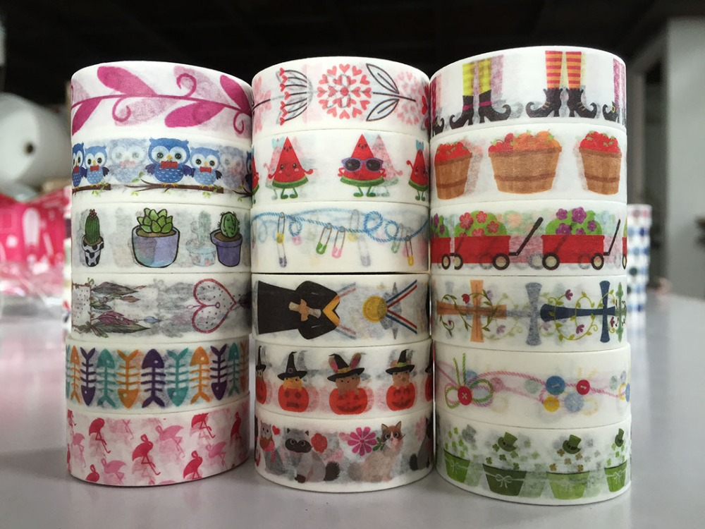 2291 patterns jiataihe washi tape mushroom bird striped leaf deer brown tape 1roll lot Free shipping