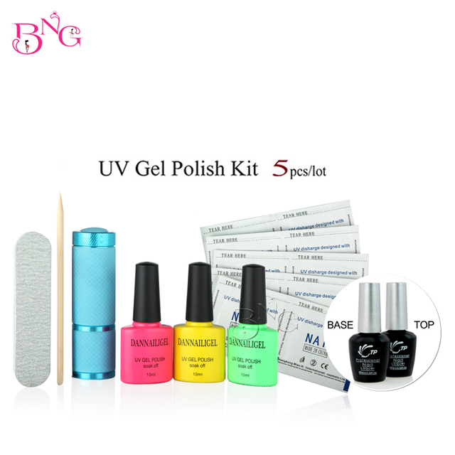 UV Gel Nail Polish(3Pcs)+Base Coat+Top Coat+UV&LED Tool Kit Shining Colorful 10ml Long Lasting Soak Off with File Remover Pad