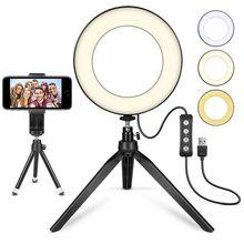 5 인치 LED Selfie 링 라이트 삼각대 스탠드 전화 홀더 유튜브 비디오 메이크업 사진 플래시 미니 카메라 밝은 램프 3 모드