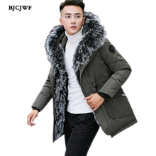 BJCJWF 2018 Winter down jacket Men Top Quality Raccoon collar Hooded white duck down coat Thicken Velvet warm Parka Overcoat Men