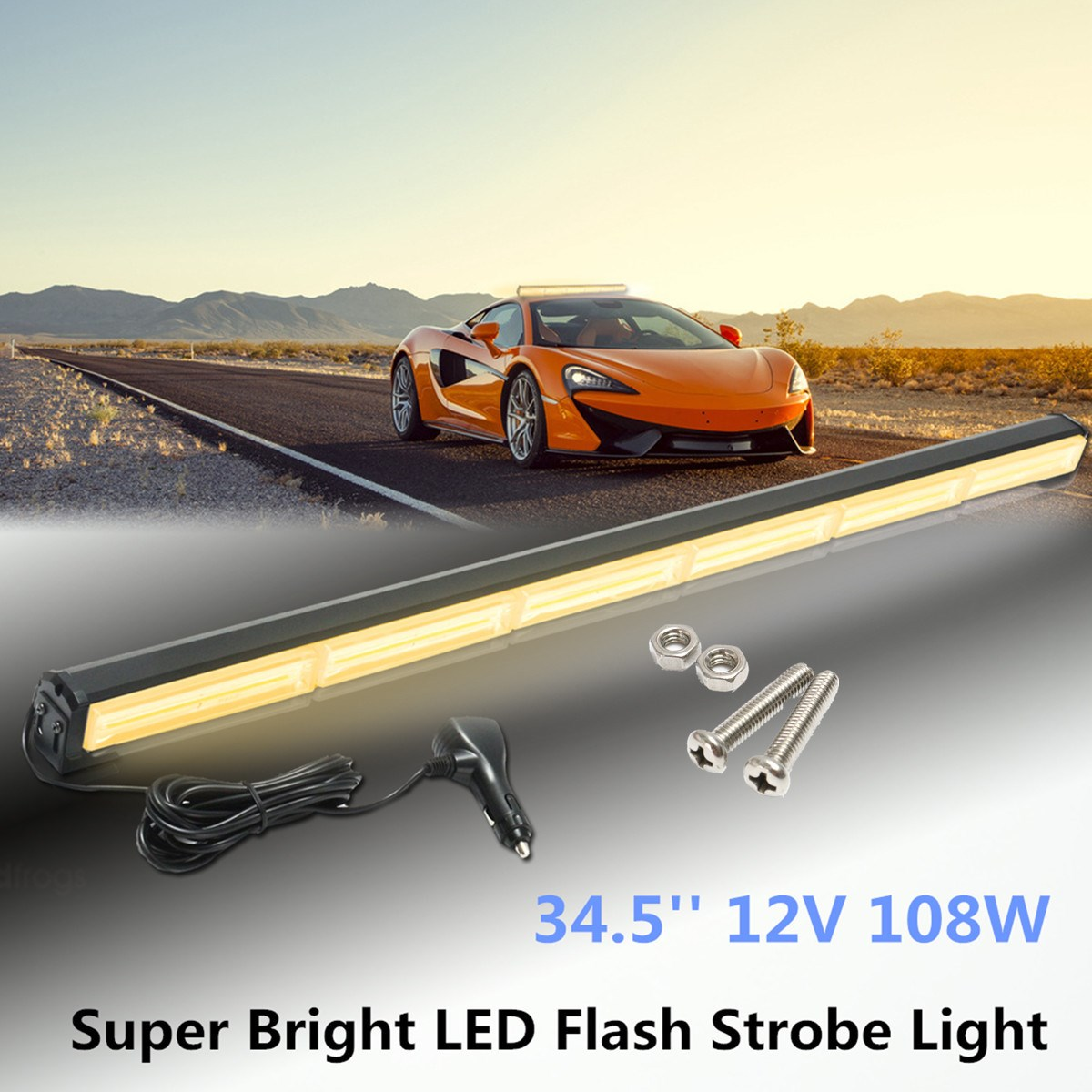 6 LED 34.5Inch 12V Car External Lights Emergency Warning Lights Tow Traffic Advisor Flash Strobe Light Beacon Bar 108W