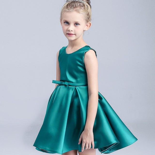2017 Green Flower Girl Dresses Sleeveless Satin Ball Gown Kids Dress For Wedding Party Summer