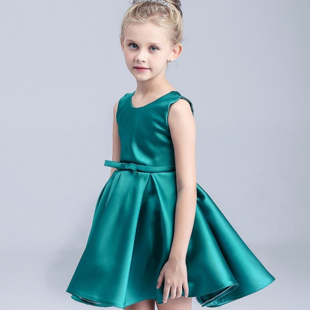 2018 Green Flower Girl Dresses Sleeveless Satin Ball Gown Kids Dress ...