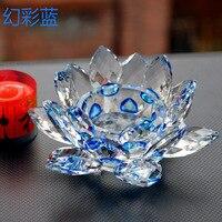 Azul Cristal Flor De Lótus De Vidro Castiçais de casamento colunas centrais candelabros Titular tigela Decoração Candlestick