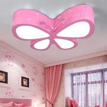 現代の簡単な子供のベッドルームカラフルな蝶中空鉄led天井ランプホームデコダイニングルームアクリルシーリングライト
