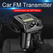 купить Bluetooth car kit FM transmitter car hands-free U disk / TF card MP3 music player cigarette lighter dual USB car charger по цене 641.54 рублей