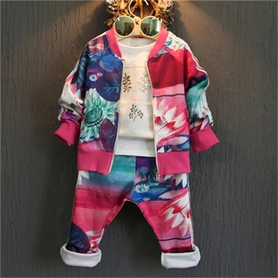 active 2017 cotton baby girls clothing sets autumn fashion children tracksuits zipper coat + pants kids sports suit 2-8years