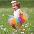 Cute Colorful Baby Tutu Skirt Toddle Baby Gilr Easter Rainbow Skirt with Flower Headband Newborn Baby Birthday Party Set