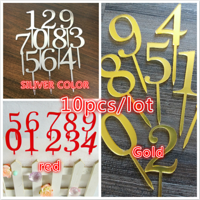 10pcs New Gold Slivery Red Number 0123456789 Birthday Cake Topper Acrylic Golden Kids Annivesary Party