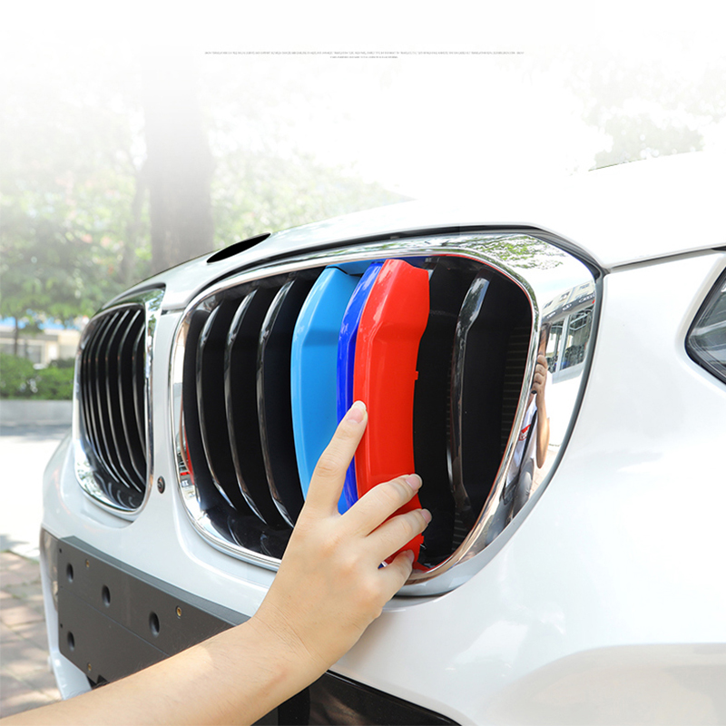For BMW 2018 X3 X4 G01 G02 7 Grilles 3D styling M Front Grille Grills Trim Strips Cover Performance Decoration Stickers 3Pcs in Car Stickers from Automobiles Motorcycles