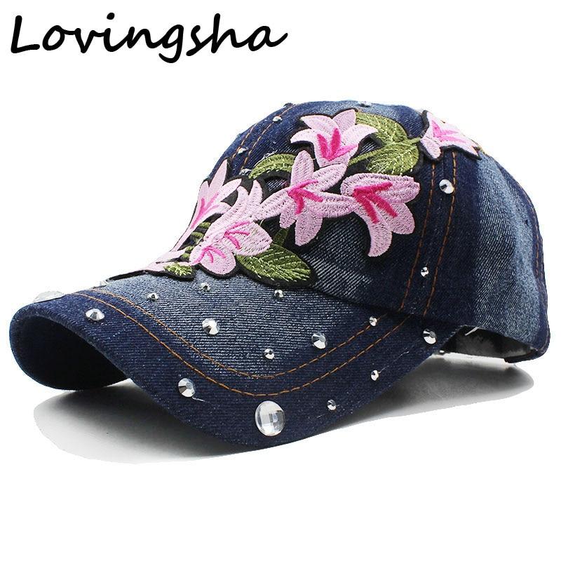 Lovingsha Rhinestones Denim Baseball Cap Spring Floral Cap Snapback Summer Cap For Girl Fitted Cap Women Wholesale Cheap Hat