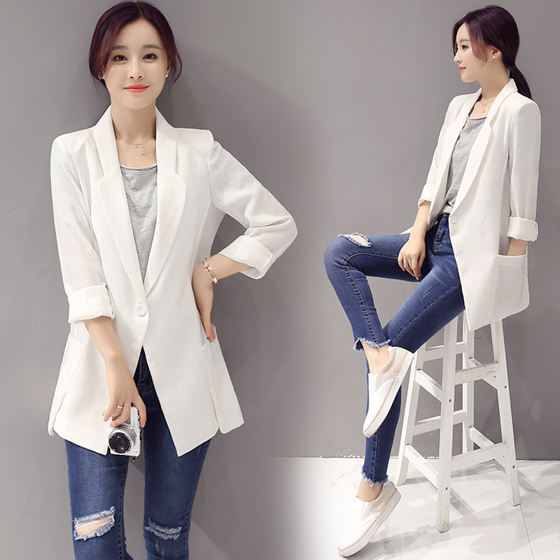 Blazer Feminino Ladies Suit Jacket Female Linen Long Sleeve One Button Suit Thin Section Blazers Women Blaser Mujer