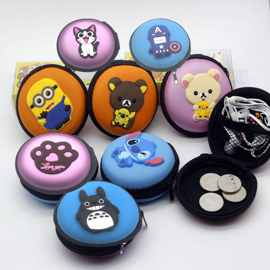 1x Round Macaron Cartoon Nylon Earphone Headphone Storage Hard Case Pocket Carrying Zipper Bag Holder