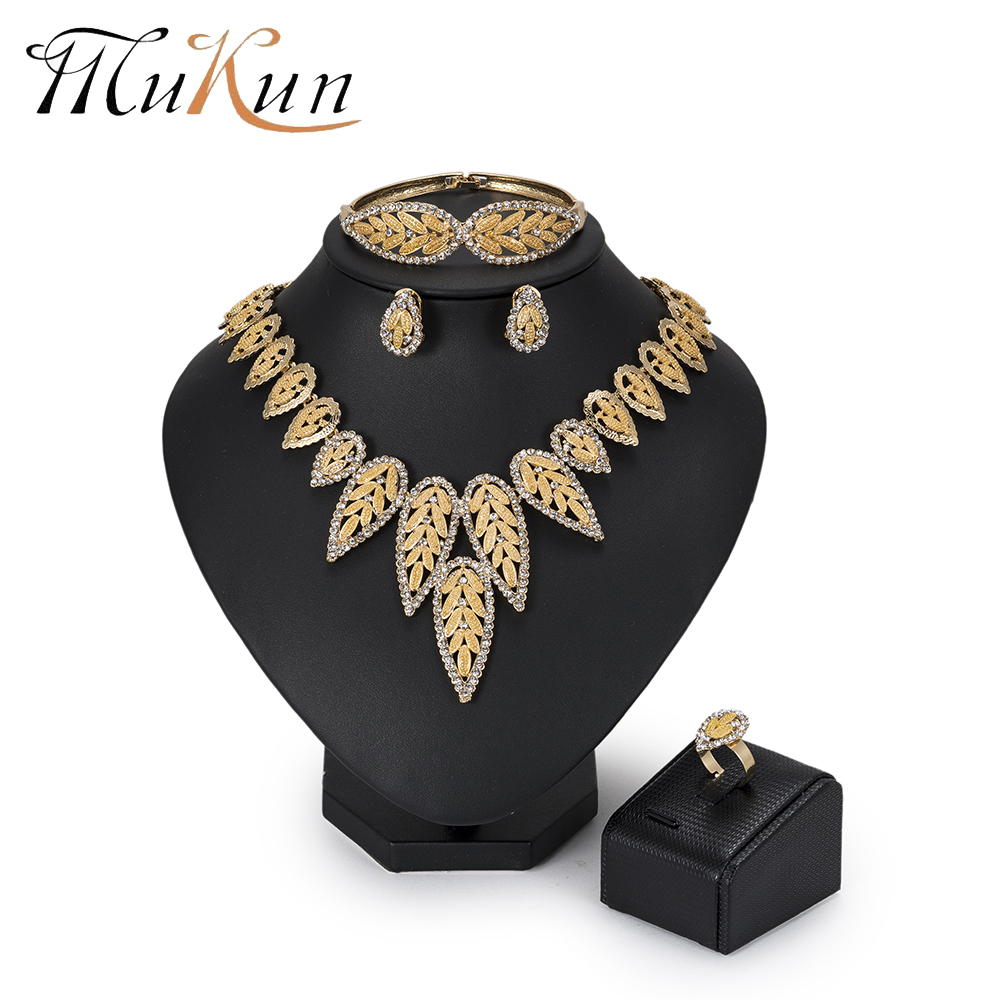 MuKun Fashion Dubai Jewelry Set For Women African Beads Jewelry Set Wedding Indian Ethiopian Jewelry Statement Necklace Set 2018