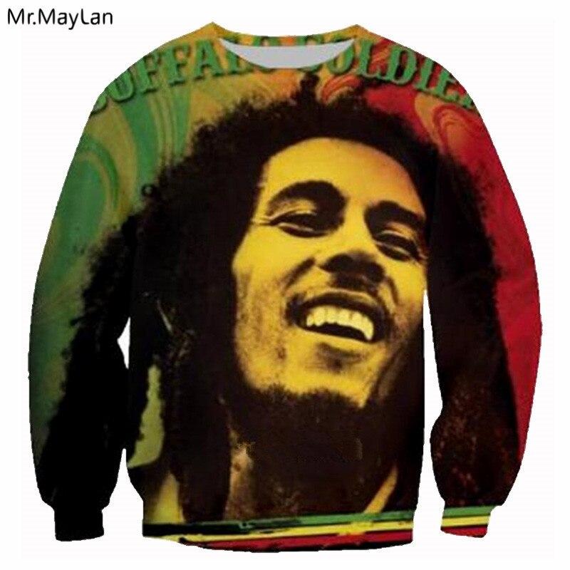 2018 New Fashion Mens T-shirts 100% Cotton Casual Long-sleeved T Shirts Popular Singer Bob Marley Slim Fit Mens Autumn Tshirts Men's Clothing