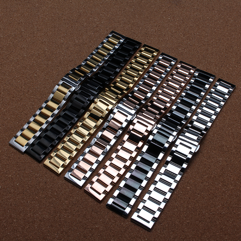 High Quality Bracelet Watchband straps 18mm 20mm  22mm 24mm black Polished Stainless Steel solid link accessories for smartwatch dull polished mixed beaded bracelet