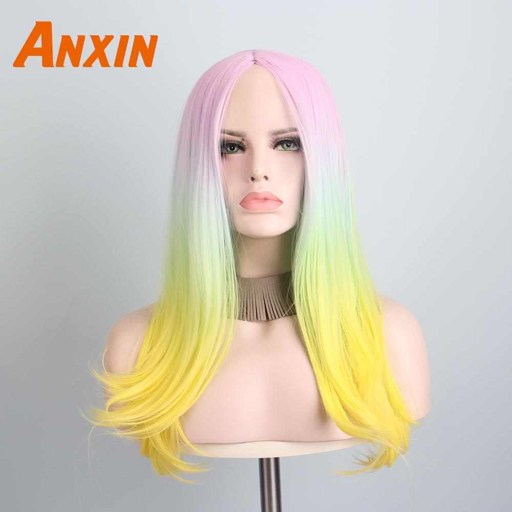 Anxin Сладкий длинное тело волнистые Цвет ful Ombre Карамельный цвет вечерние аниме Косплэй волос для девочек нагревательная с защитой синтетический парик