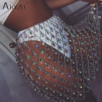 AKYZO Sexy Bling Metal Body chain gem sequins skirt Women crazy Summer Beach Hollow out crystal Nightclub Party mini skirts