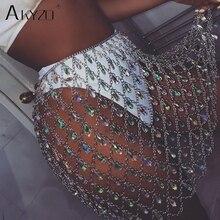 AKYZO Sexy Bling Metal Body chain gem sequins skirt Women crazy Summer mini skirts