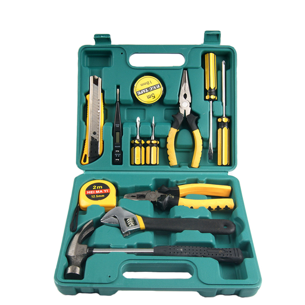13 PCS Hand Tool Set General Household Boxes Hammer Pliers Screwdriver Wrenches Knife Hand Work Household Tool Set original ganzo multi tool knife pliers 22in1 edc hand tool set pliers 440c 58hrc g202b g202 multifunctional hand folding plier
