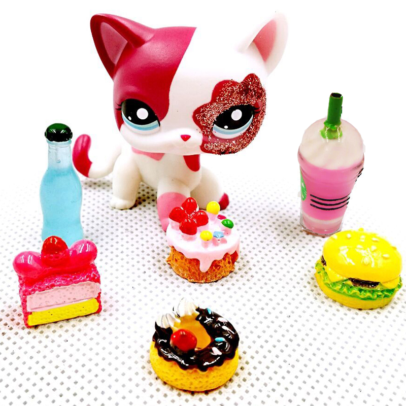 Real Pet Shop Toys #2291 Short Hair Cat With Accessories Sparkle Eyes Pink Rare White Kitty Figure For Kids Gift