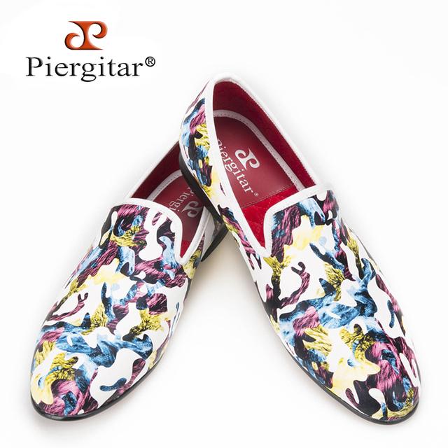 2016 Nuevo Diseño Artesanal de Piergitar multi-colores Tropical Camuflaje hombres Zapatilla Informal hombres Mocasín Primera Opción para el Banquete