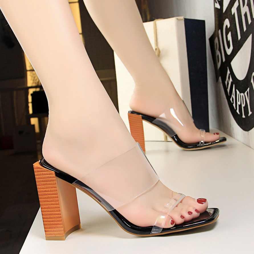 fe880206279 ... 2019 Women Luxury 9cm High Heels Fetish PVC Sandals Female Cheap Jelly Block  Heels Shoes Lady ...
