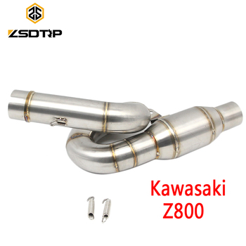 ZSDTRP Motorcycle Connecting Mid Link Pipe Slip on Exhaust for Kawasaki Z800 2013-2016 Exhaust Pipe Connector Adapter