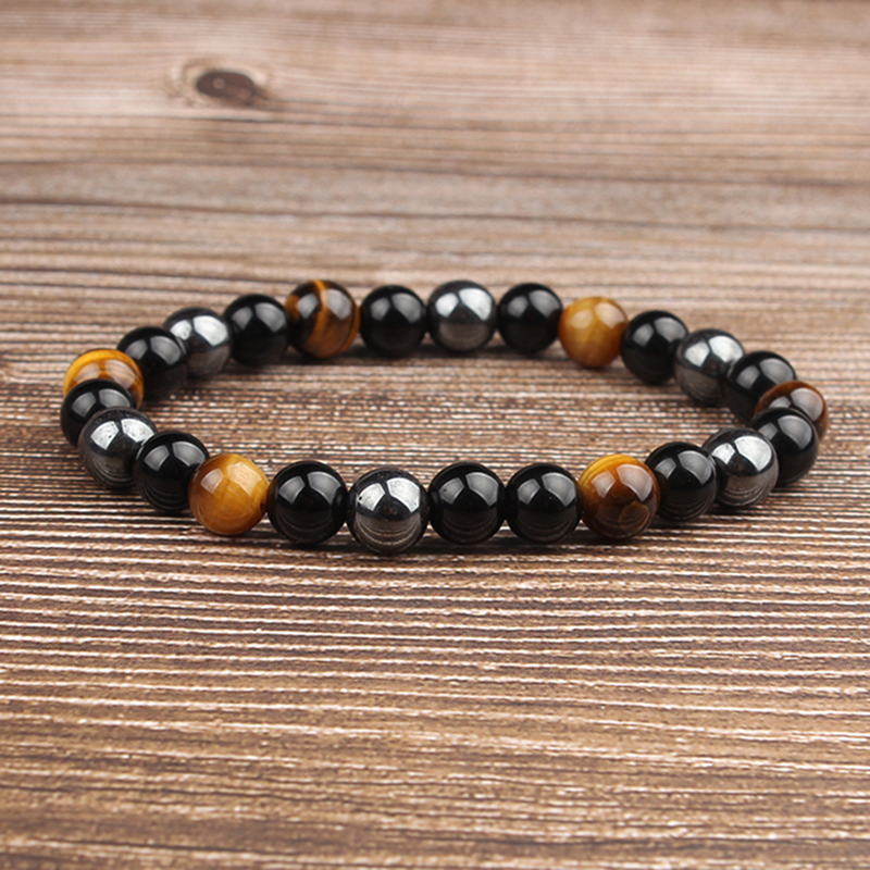 Lingxiang 8mm Fashion tiger eye hematite bracelet jewelry designed for women and men