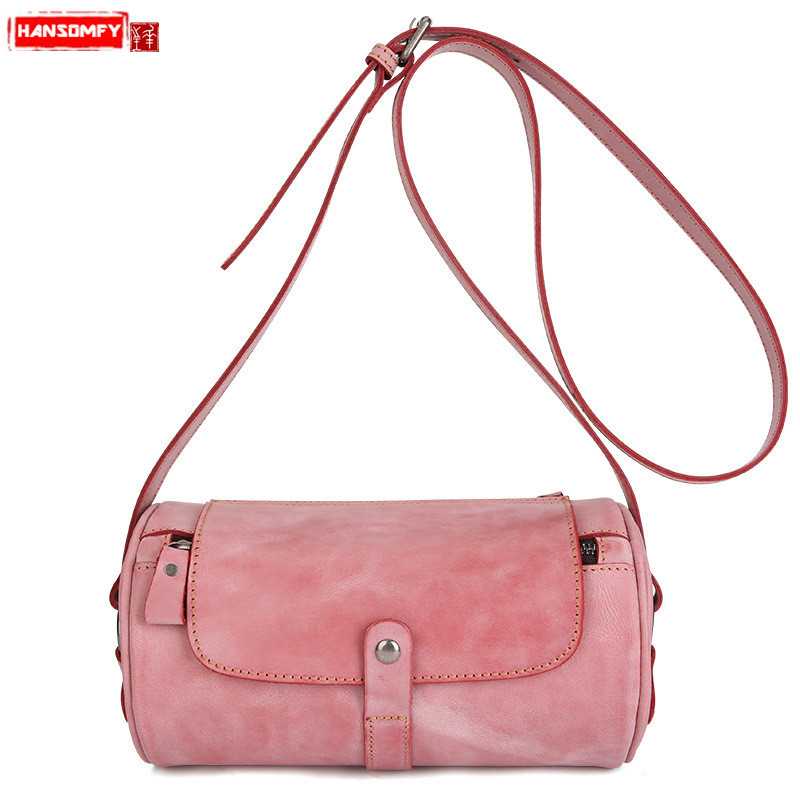 HANSOMFY Retro fashion Genuine leather Women handbags style fan wax leather female shoulder Messenger bag ladies crossbody bags 2016 women s winter luxury down coat w a hood 90