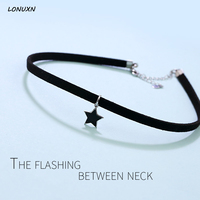925 silver collar PENTAGRAM Chokers Neck straps short stars Necklaces For Women Geometric Pendant female simple clavicle