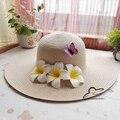 La moda de nueva verano frangipane flor del Plumeria Flora cúpula sombrero de playa sombrero de paja sombrero para el sol para las mujeres niñas