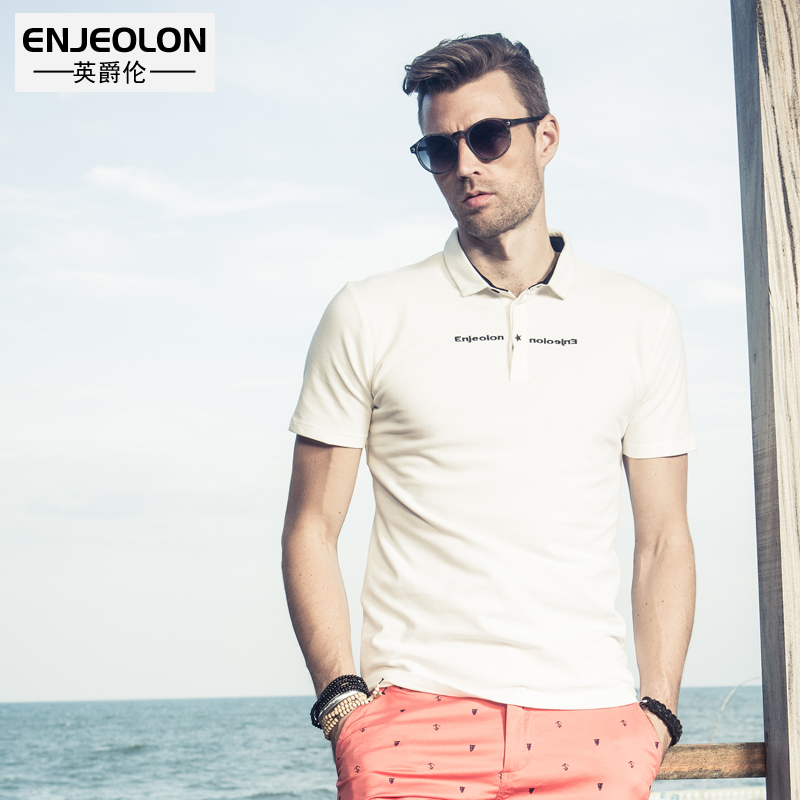 Enjeolon brand Mens casual short sleeve   polo   men Shirts england style word printing   polo   Clothing men Tops Tee T1685