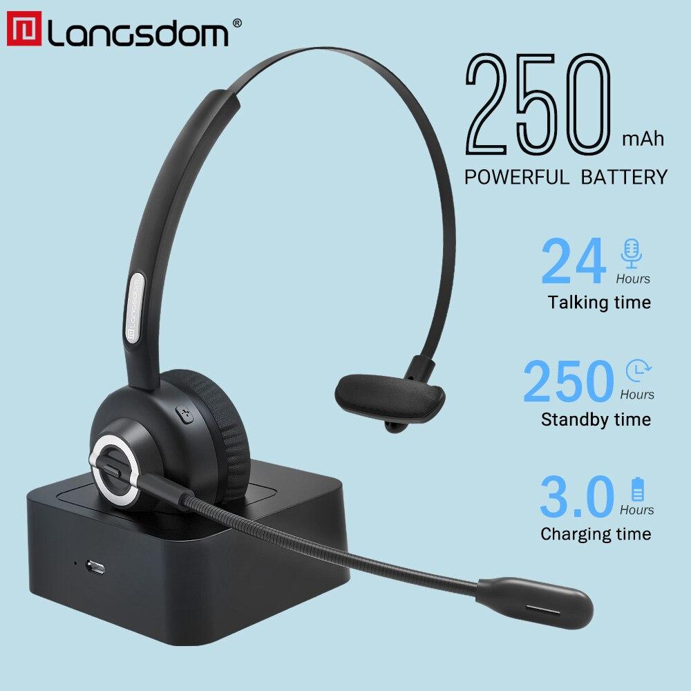 Langsdom 2019 date sans fil casque Bluetooth 5.0 écouteur pour PC ordinateur portable Bluetooth casque avec Microphone pour les affaires