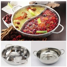 High Quality Hot Pot Twin Divided Stainless Steel 28cm Cookware Induction Ruled Compatible Soup Stock Pots Home Kitchen