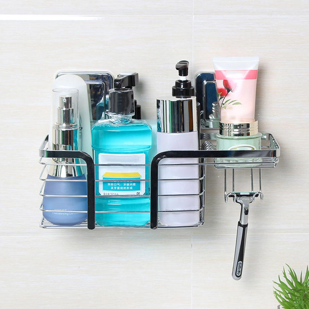Stainless Steel Shower Caddy Basket Shelves Bath Shampoo Holder with ...