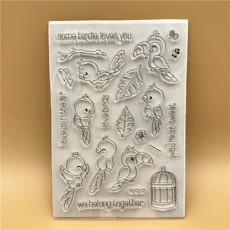 Bird Transparent Clear Silicone Stamp/Seal for DIY scrapbooking/photo album Decorative clear stamp sheets A568 lovely animals and ballon design transparent clear silicone stamp for diy scrapbooking photo album clear stamp cl 278