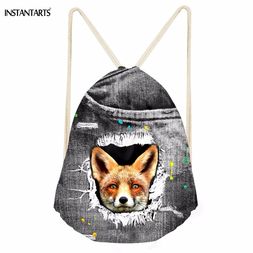 INSTANTARTS Funny 3D Animal Fake Denim Fox Printing Drawstrings Bags For Girls Boys Casual Softback Backpacks Galaxy Beach Bags
